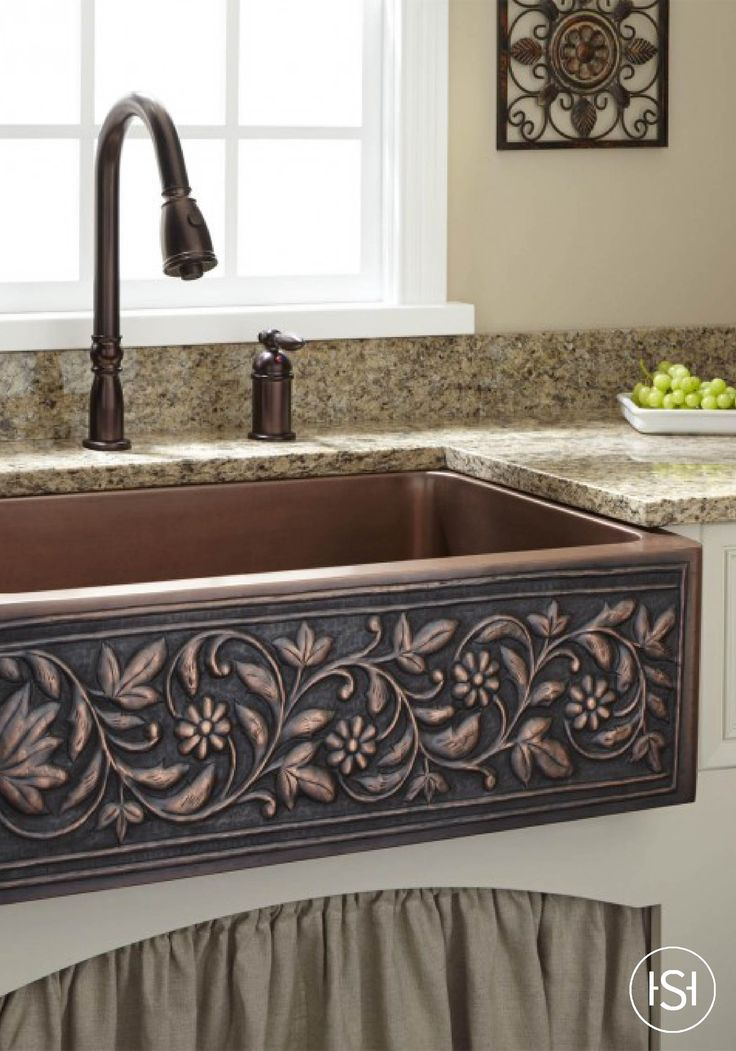 30 Vine Design Copper Farmhouse Sink Rustic Kitchen