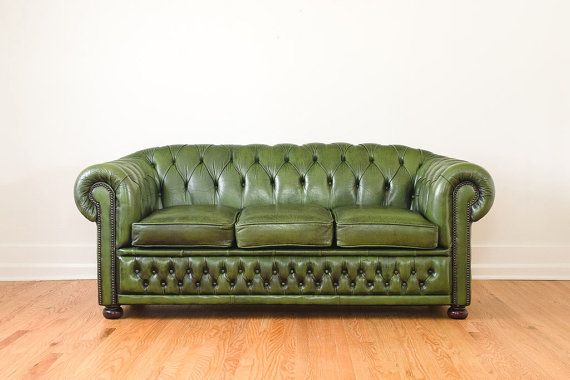 Vintage Green Leather Chesterfield Sofa Winchester Made In England
