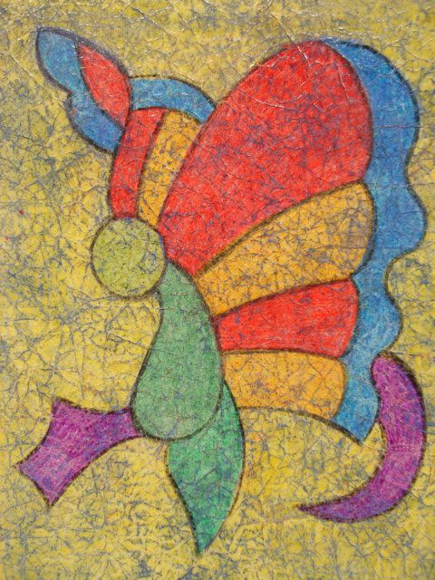 Wax Crayon Batik-Week 4-Objective: continue lesson on filling space, introduce new technique wax resist, introduce new medium:acrylic paint.  Supplies Needed: thin white printer paper, wax crayons, watered down acrylic paint in a darker colour(purple, dark blue, dark red), paint brushes and paper towels.