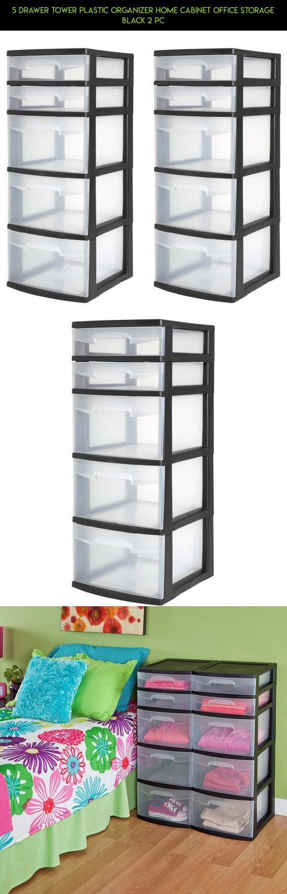 5 Drawer Tower Plastic Organizer Home Cabinet Office Storage Black 2 PC #parts #plastic #technology #plans #drone #products #camera #tech #storage #shopping #racing #kit #5 #gadgets #organizer #fpv