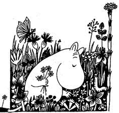 Moomin picking up flowers