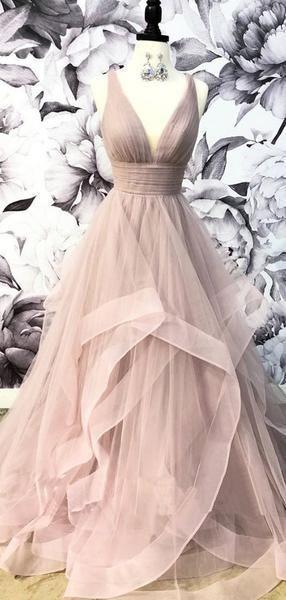 V-Ausschnitt Grau Tüll A-Linie Lange Abendkleider, Cheap Party Custom – Lover