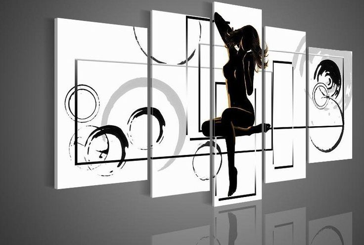 5048 handpainted 5 piece black white modern abstract oil painting on canvas wall art naked girl nude picture for home decor $55.00