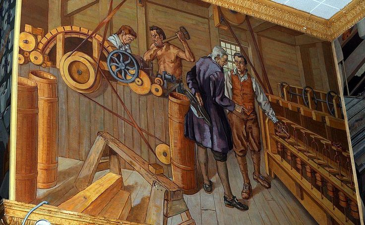 In 1936, the Works Progress Administration sanctioned John Mann to paint a series of murals in Kuss Middle School. For the project, Mann painted a