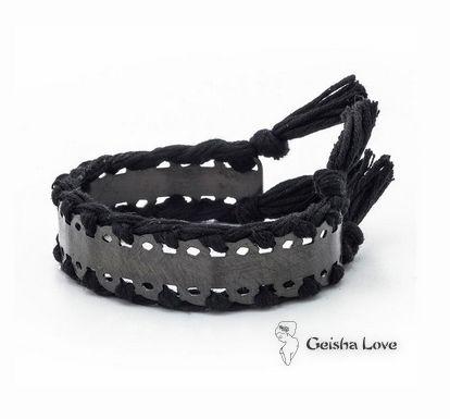 CHAIN collection bangle bracelet, black color width 15mm, black cotton spun