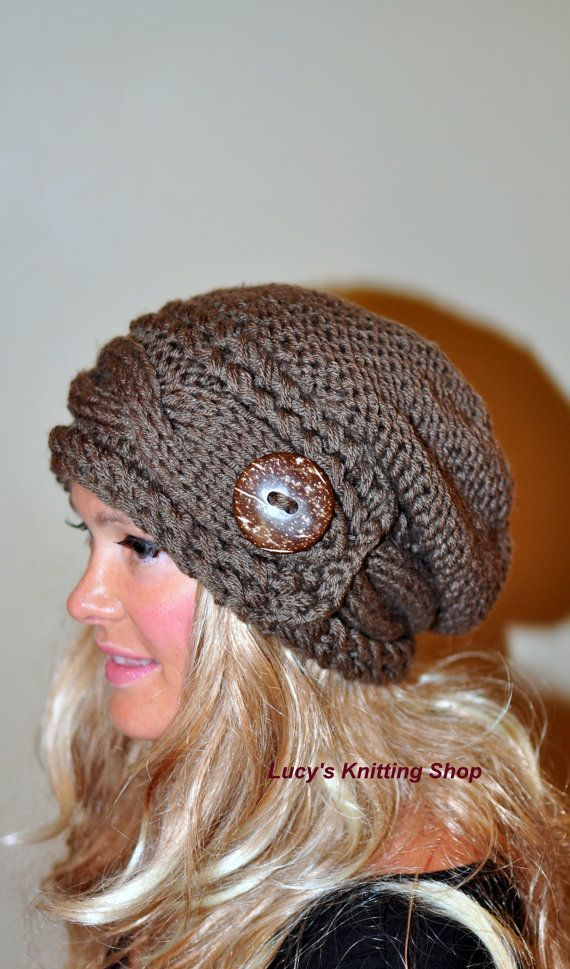 slouchy beanie cable loom knit | Slouchy Hat Slouch Beanie Cable Button Hat Hand Knit Winter Women Hat ...