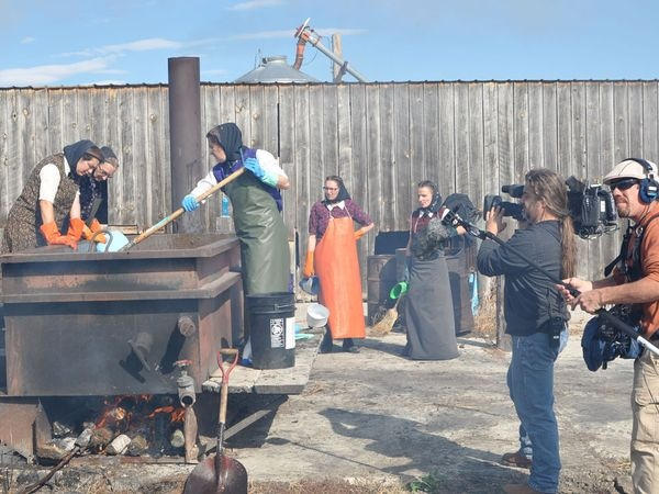 The Hutterites behind the scenes filming.