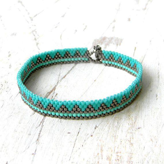 Delicate turquoise bracelet Thin dainty bracelet by HappyBeadwork