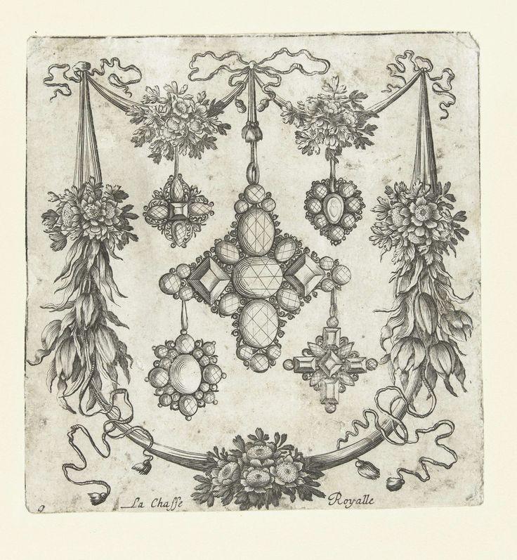 Balthazar Moncornet | Cartouche met vijf hangers, Balthazar Moncornet, Francois Lefebure, Jean Moncornet, after 1679 - before 1716 | Cartouche opgebouwd uit bloemenfestoenen en linten, met in het midden een grote en vier kleine hangers. De koninklijke jachtpartij onderaan is afgesneden. Uit serie van 12 bladen met ontwerpen van juwelen voor goudsmeden en emailleurs. Vijfde editie.