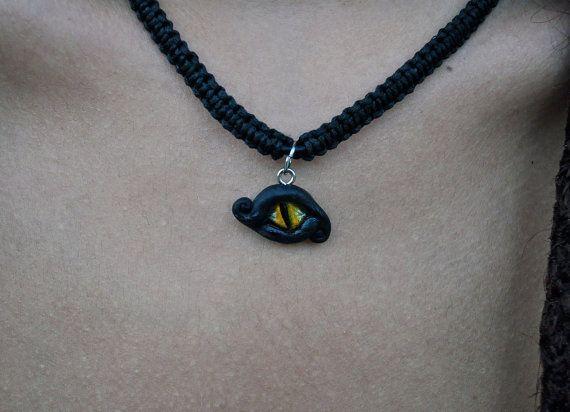 Black Dragon's Eye Macrame Necklace by LunaMater on Etsy