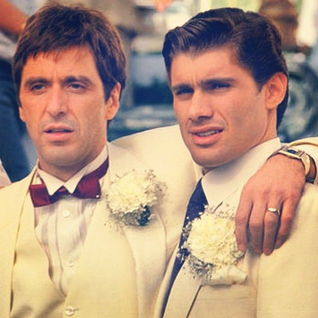 """Al Pacino as """"Tony Montana"""" and Steven Bauer as """"Manny Ribera"""", """"Scarface"""" (1983) by Brian De Palma and Oliver Stone (screenplay)"""