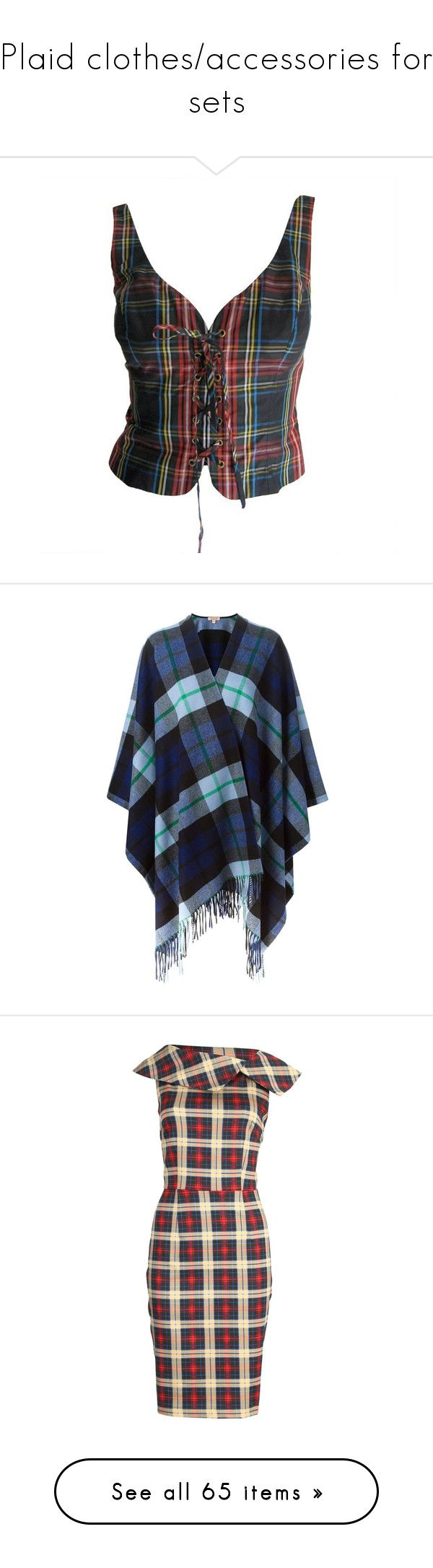 """""""Plaid clothes/accessories for sets"""" by shays22 ❤ liked on Polyvore featuring tops, vest, shirts, bustier, corsets, black, silk tops, lace up top, bustier corset tops and moschino shirt"""