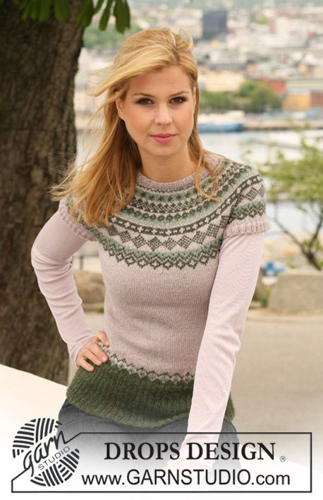 "Winter Moss - Knitted DROPS jumper in ""Alpaca"" with short raglan sleeves and Norwegian pattern. Size S to XXXL. - Free pattern by DROPS Design"