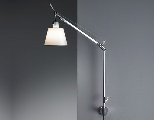 tolomeo wall lamp with shade - Design Michele De Lucchi & G. Fassina, 1987  Aluminum, stainless steel, parchment or fiber shade  Made in Italy by Artemide 274 $