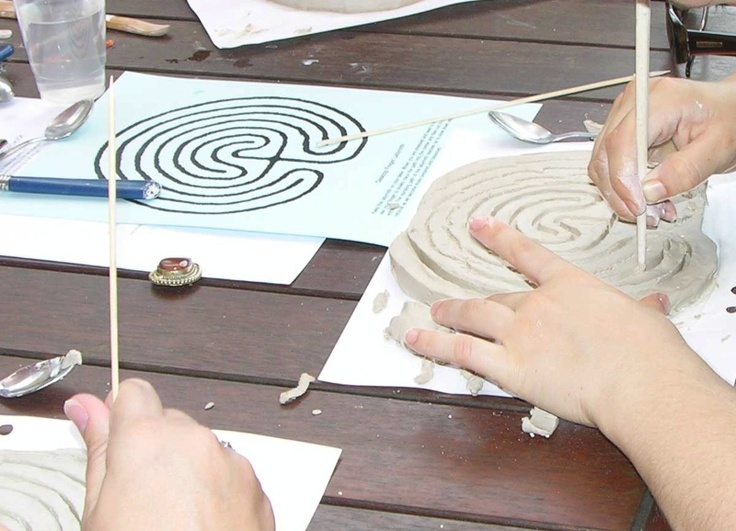 finger labyrinth made out of clay - could do with polymer clay too!   Carving Out the Path Way - Jo Murphy