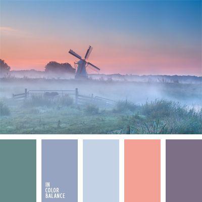 color azul niebla, color melocotón, color rosa melocotón, color rosa suave, colores de la niebla mañanera, colores de la puesta del sol lila, colores de la salida del sol lila, de color malva, elección del color, esmeralda pastel, matices de color azul celeste pastel, rosado, tonos violetas.