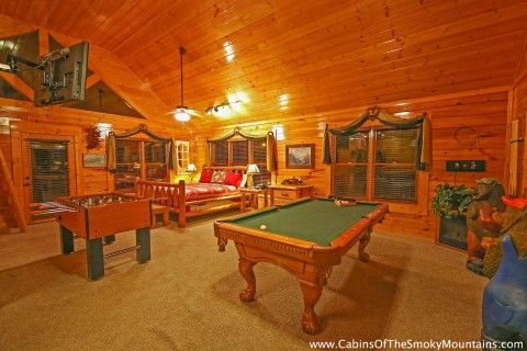Wears Valley View -- Upstairs in the open loft is the second bedroom area, full bathroom, full size pool table, arcade game, foosball table, futon and TV