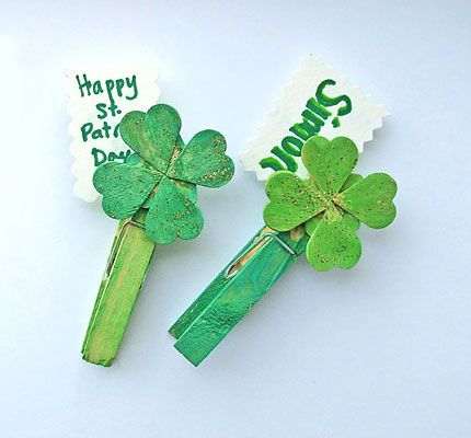 Click pic for 50 St Patricks Day Crafts for Kids - Shamrock Clips  | Easy Crafts for Kids