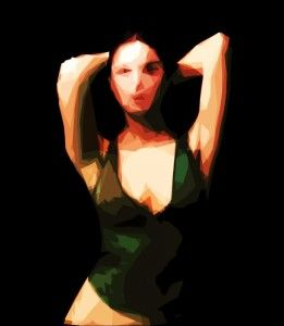 Green shirt, Woman, Girl, Cubist artwork, Sketch