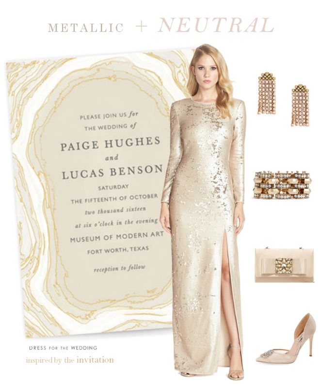 Metallic and neutral wedding Inspiration. Inspired by a gold, and silver wedding invitation with a champagne gown | Ideas for a neutral and metallic wedding color scheme.