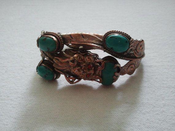 Dragon Bracelet Tibetan Dragon by Theforgottenfrog on Etsy, $72.00