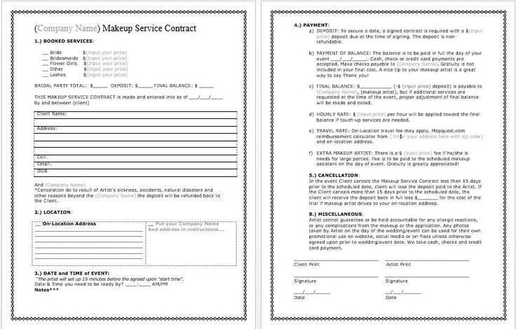 Bridal Makeup Contract Template docx. File by WWCinc on Etsy