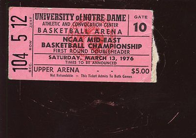 March 13 1976 NCAA Basketball Mid East Championship Game Ticket Stub Notre Dame