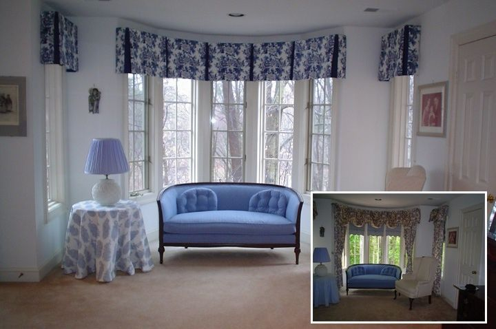 Architecture, Side Pleat Valance In Bay Window And Side Windows And A Custom Tablecloth: Three Most Common Bay Window Treatments
