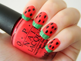 Muffin Nails: Watermelons