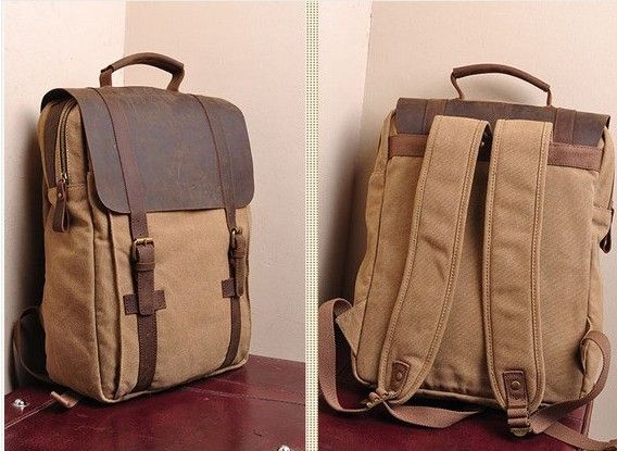 "Large Antique Handmade Leather Backpack, Satchel, Travel Bag, 17"" Laptop 17"" MacBook Bag (1820-1) - Thumbnail 2"