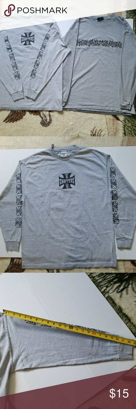 MEN'S GRAY LONG SLEEVE SHIRTS BUNDLE First T-shirt is size XL as shown in the tag... 2nd shirt doesn't have a size tag but it is almost the same size as the first shirt. Length of sleeves are shown in the pictures for reference.. Both shirts are in good condition. West Coast Choppers Shirts Tees - Long Sleeve