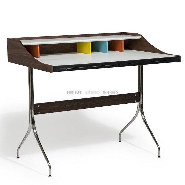 This aesthetic design of Nelson's desk was first introduced way back in 1958 by George nelson for the Herman Miller (home furnishing designer) made of solid walnut and chrome base.   The streamlined nelson's desk is the classic furniture which is as memorable as its past history of 50 years. The intuitive innovative yet economical design inspires it as a best fit in any corner of your house or office to use it as a study desk or your small workstation. The melamine top made of solid wood…