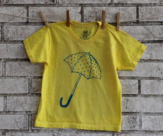 Childrens Umbrella tshirt  cotton crew neck tee by CausticThreads