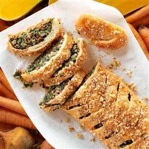 Tuscan Artichoke & Spinach Strudel Recipe -Strudel through history and you'll find origins for this sweet layered pastry in Austria. Bring it over to the savory side with Tuscan influences of tomatoes, mushrooms and pesto. —Jeanne Holt, Mendota Heights, Minnesota