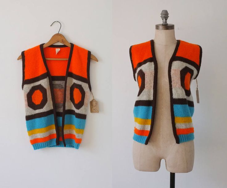 Magic Mountain Festival vest | vintage 60s vest | retro hippie open knit vest | orange vest | retro vest | lightweight sweater vest