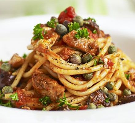 Sardine spaghetti                400g spaghetti           1 tbsp olive oil           2 garlic cloves, crushed           pinch chilli flakes           227g can chopped tomato...