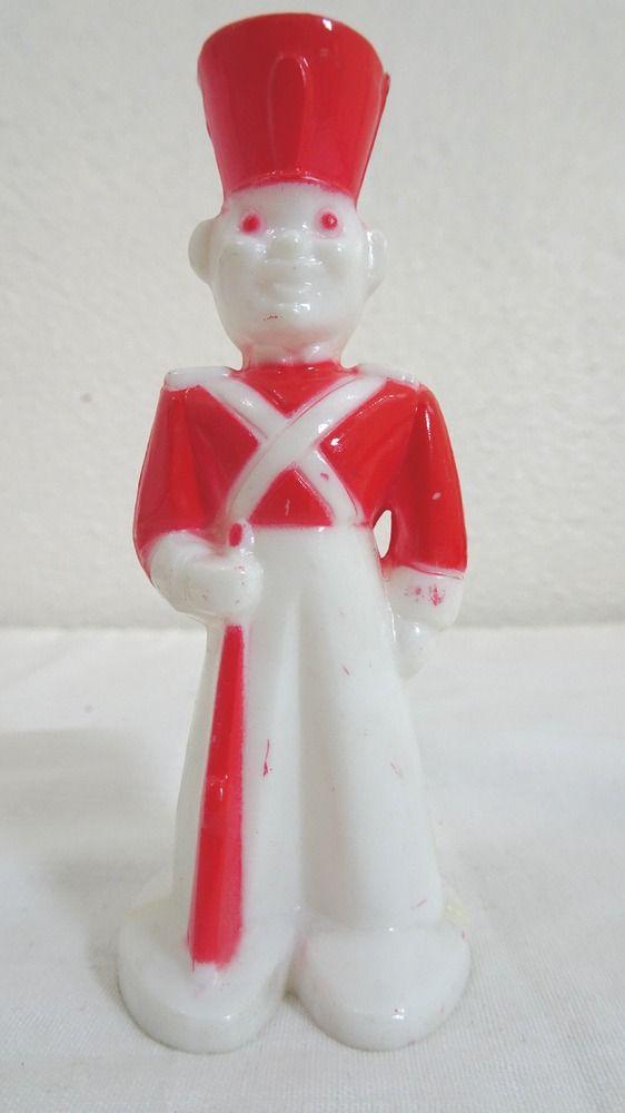 VINTAGE ROSEN ROSBRO RED/WHITE PLASTIC TOY SOLDIER SUCKER LOLLIPOP HOLDER