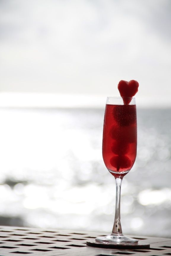 Prosecco, Cranberry Juice and Triple Sec are mixed up to create this romantic Jimbaran Crush cocktail at Bali's Belmond Jimbaran Puri.