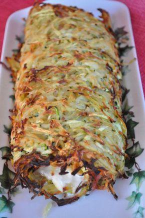 Roulé à base de pomme de terre et courgettes, fromage de chèvre et jambon.: