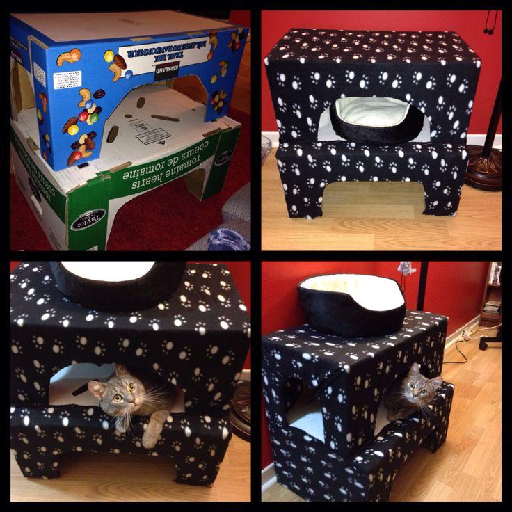 Cabane chat fait maison en recyclant des bo tes venant for Cabane exterieur pour chat