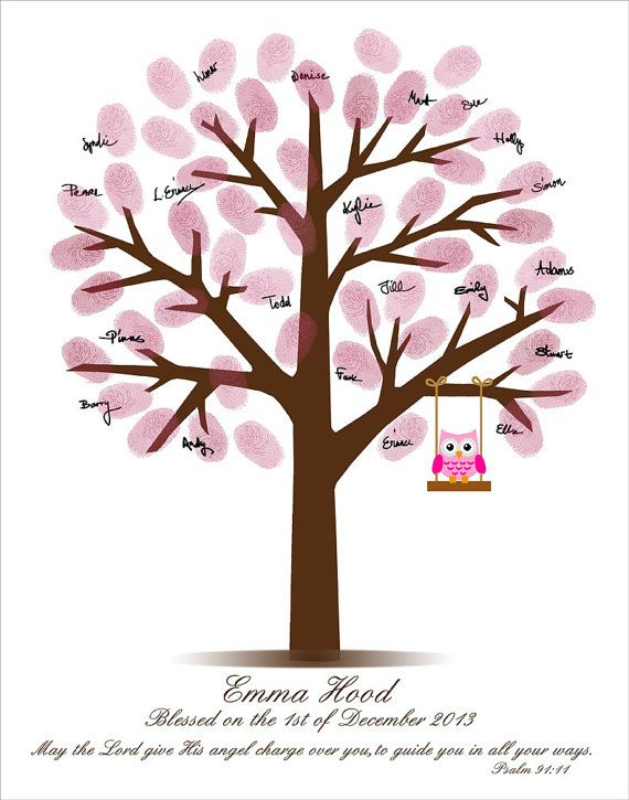 Personalized Fingerprint Tree - Christening Gift - Childs Baptism Nursery Art - Printable PDF File - Custom color, size, text and language