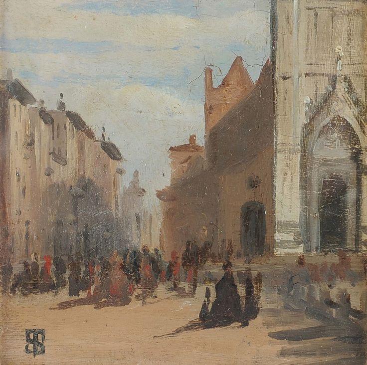 Toscane, Florence, place Santa Croce, par Telemaco Signorini, 1858