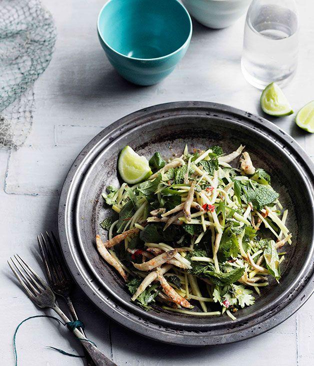 Australian Gourmet Traveller recipe for crisp chilli whitebait and green mango salad.