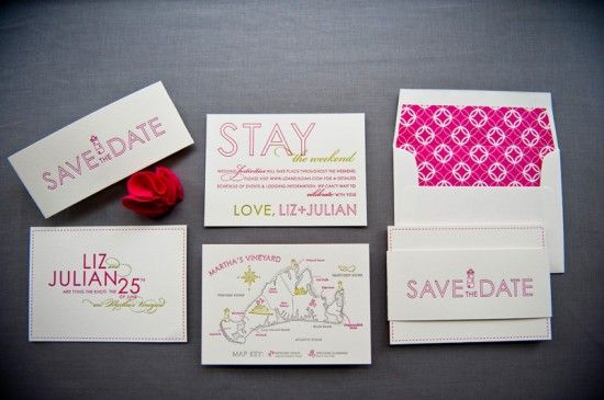 Colorful Destination Wedding Save the Dates by Gus & Ruby Letterpress (9)