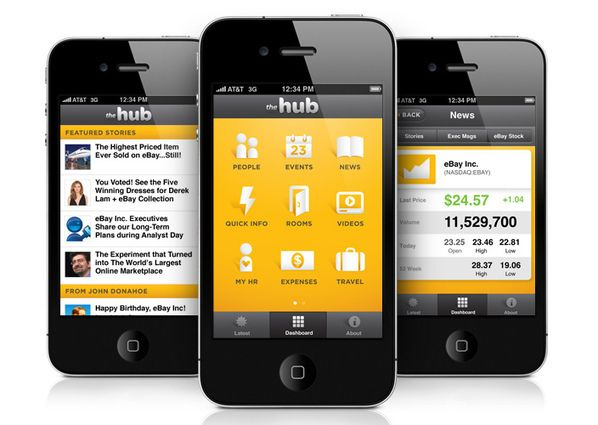 This is the Hub, eBay's mobile intranet.  These screenshots were no longer available on the source website (Design agency Office: visitoffice.com) so we have pinned it from another source.