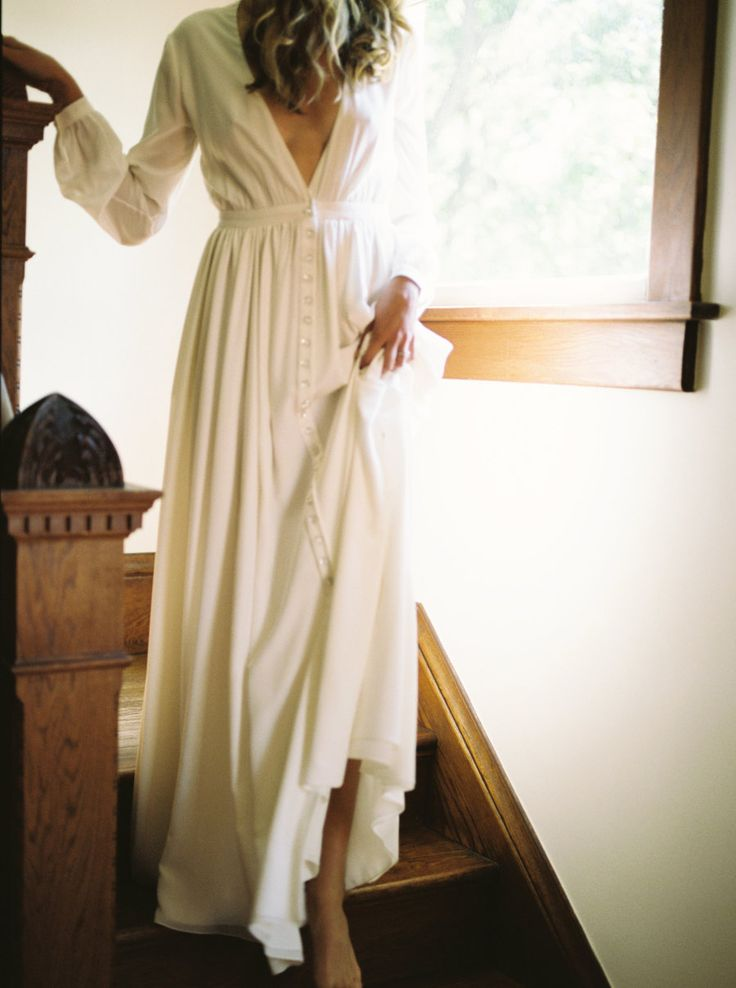 """Houghton bride in her long sleeve deep v neck """"Galina"""" wedding gown featured on Style Me Pretty"""