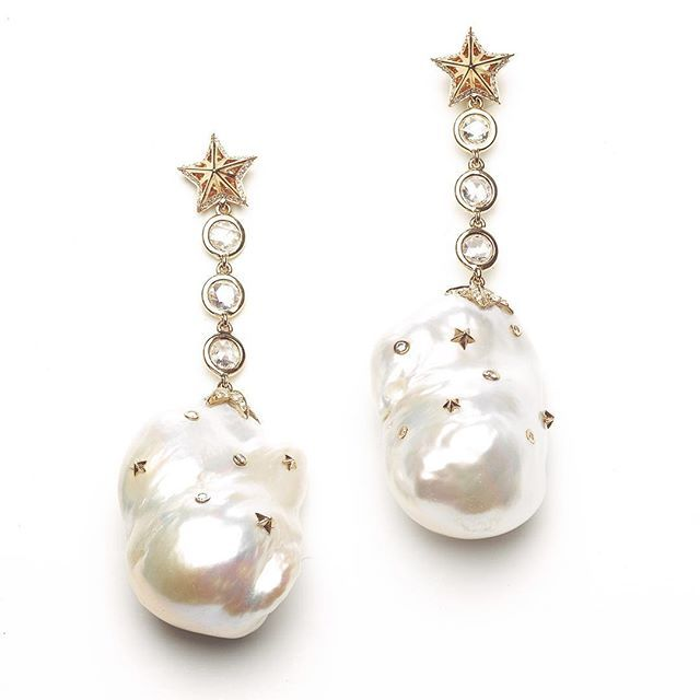 These special Baroque Pearl earrings have tiny golden stars and diamonds on…
