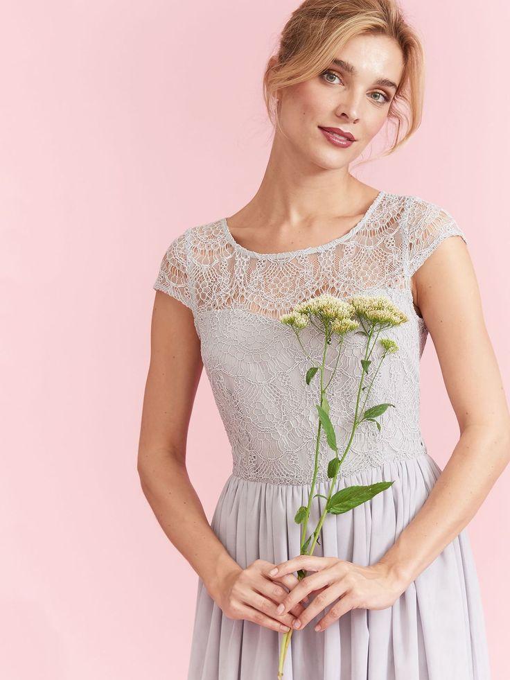 Top Secret sukienka szara na wesele koronkowa tiulowa rozkloszowana wedding dress prom dress