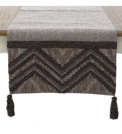 FABRIC TABLE RUNNER IN GREY_BROWN COLOR 140X40