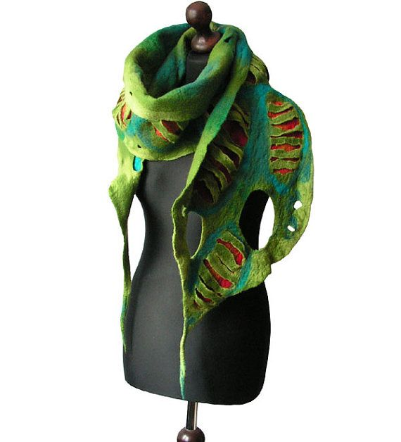 Felted scarf felted collar felted green orange turquoise petrol felt spring boho OOAK